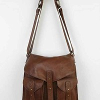 BDG Leather Tab-Strap Messenger Bag- Brown One