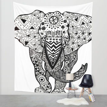 Elephant Illustration Wall Tapestry by Summer Shells