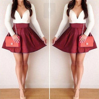 Stylish Lady Women's Patchwork Splicing Color Sexy V-Neck Long Sleeve Party Casual Mini Dress F_F = 1904205188