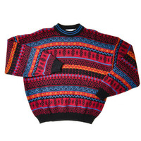Vintage 80's Multicolored Sweater with High Neck