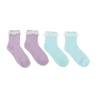 Blackheart Purple & Mint Lace Accented Ankle Socks