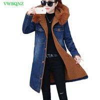 Denim Jacket Female New Winter Long section Coat Loose Tops Lambs Cotton Jackets Large Fur collar Cotton Jeans Jackets Coats 980