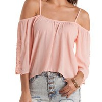 Crochet Cold Shoulder Peasant Top by Charlotte Russe