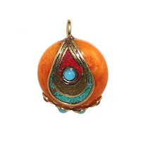 turquoise coral amber pendant