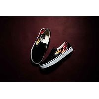 Thrasher x Vans Flame Slip-On Low Top Men Flats Shoes Canvas Sneakers WoMensport Shoes-1