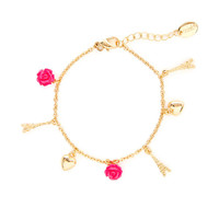 Gold Eiffel Tower, Hearts and Carved Roses Charm Bracelet
