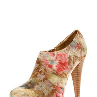 Pippa Low Ankle Floral Print Heeled Shoe Boots