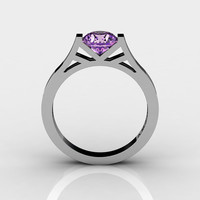 Modern 14K White Gold 1.0 Ct Luxurious Engagement Ring or Wedding Ring with a Amethyst Center Stone R667-14KWGAM