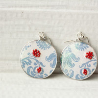 Light Blue Sparkle Floral Print Recycled Card Earrings, Silver Resin Jewelry, Gifts for Her