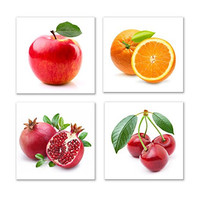 The Decor Shop - Canvas Prints Fruit Pictures on Canvas Wall Art Framed Modern Decor Paintings Giclee Artwork for Kitchen Dinning Room Decoration Apple Orange Pomegranate Cherry12x12inch