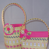 Yellow And Pink Matching Easter Basket And Little Girls Purse