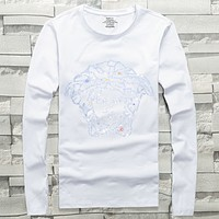 Versace 2019 early spring new long-sleeved hot drilling logo men's round neck shirt white
