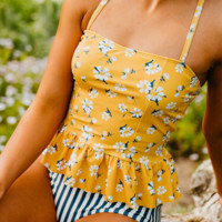Yellow Sunflower Peplum Striped Bikini Sets