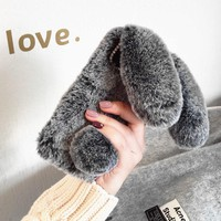 Cute Rabbit Fur Case For iPhone XS XS Max XR Case Soft TPU Bling Diamond Cover For iPhone XR XS Max Capa Warm Winter Girls Coque