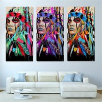 Vintage Canvas Poster Prints Native American Indian Art Painting Feathered Painting for Home Bed Room Wall Decor