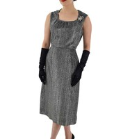 1960s Black Silver Lurex Cocktail Dress