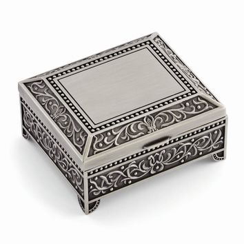 Pewter-tone Finish Floral Square Jewelry Box - Engravable Personalized Gift Item