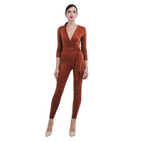 Suede Fitted Brown Jumpsuit