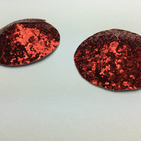 Red Holiday Pasties, Red Glitter Pasties, Christmas Pasties, Christmas Red Pasties, Red Burlesque Pasties, Valentines Day Pasties, RUBY RED