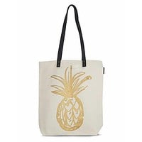 Pineapple Shopper Tote in Gold on Canvas