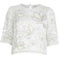 River Island Womens White floral embellished crop t-shirt