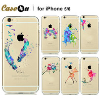 Fashion Watercolor Art Transparent Soft TPU Case Cover For Capinhas iphone 7 7plus 5s 5 6 6s Cartoon Animals Minnie Mickey Mouse