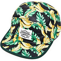 Muan Banana Print 5 Panel Camp Snapback Hat Baseball Cap (3. Black)