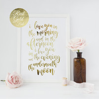 I Love You In The Morning, Real Gold Foil, Love Quote, Motivational Print, Typography Poster, Wall Art, Bedroom Decor, Home Decor, 11x17