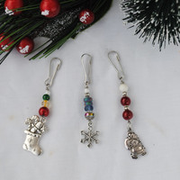Christmas charm set; Christmas zipper charms; mini tree decoration; gift charm; gift decoration; holiday zipper pulls; Santa Claus; stocking