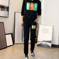 """Gucci"" Women Fashion Logo Letter Hooded Long Sleeve Trousers Set Two-Piece Sportswear"