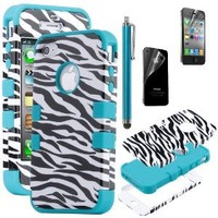 Pandamimi ULAK 3-Piece Hybrid High Impact Case Black Zebra Blue Silicone for iPhone 4 4S with Screen Protector and Stylus