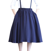 Navy Suspender Midi Skirt