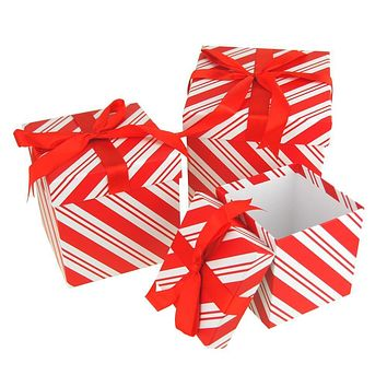 Candy Cane Stripe Nested Holiday Christmas Gift Boxes, 5, 6 and 7-Inch, 3-Piece