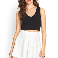 FOREVER 21 Lace A-Line Skirt Cream Large