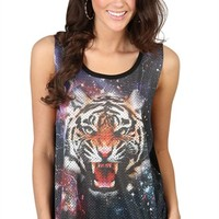 High Low Tank with Galaxy Tiger Print - Clearance