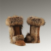 UGG Fox Fur Tall Boots 5815 Chestnut