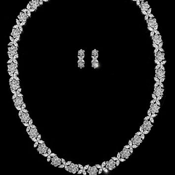 Charla Floral Cluster Tennnis Necklace Set | 50 Carat | Cubic Zirconia