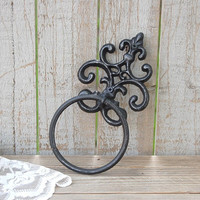 Towel Holder, Shabby Chic, Black, Hand Painted, Cast Iron, Metal, Distressed, Towel Ring, French Decor