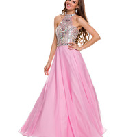 Pink Chiffon Sequin Halter Gown 2015 Prom Dresses