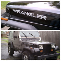 Custom made hood decals to fit on jeep wrangler yj tj or jk 16 DIFFERENT COLORS to choose from