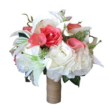 Bridal Bouquet-Rose lily calla lily burlap beach tropical wedding