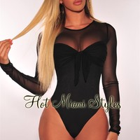 Black Tie Up Sheer Mesh Long Sleeves Bodysuit