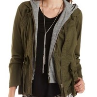 Hooded & Layered Anorak Jacket by Charlotte Russe