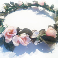 Antique Pastel Floral Crown/ Halo Bridal Vintage Headwreath-Vintage Bride Wedding Bohemian Accessories Floral Headpiece