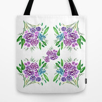 Floral Bouquet Tote Bag, purple, chic floral, travel bag, gift for mom allover print accessories