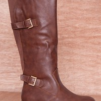 Refresh Midnight Ride Two Buckle Faux Leather Riding Boots Dason-02 - Brown