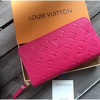 LV Louis Vuitton New Women Fashion Monogram Print Leather Wallet Purse Pink