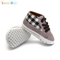 Toddler Infant Baby Boy Shoes Laces Casual Sneaker PU Plaid Soft Sole Crib Shoes