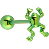 Green Frog Anodized Titanium Barbell | Body Candy Body Jewelry