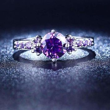 White Gold Plated Purple CZ Crystal Engagement Wedding Ring